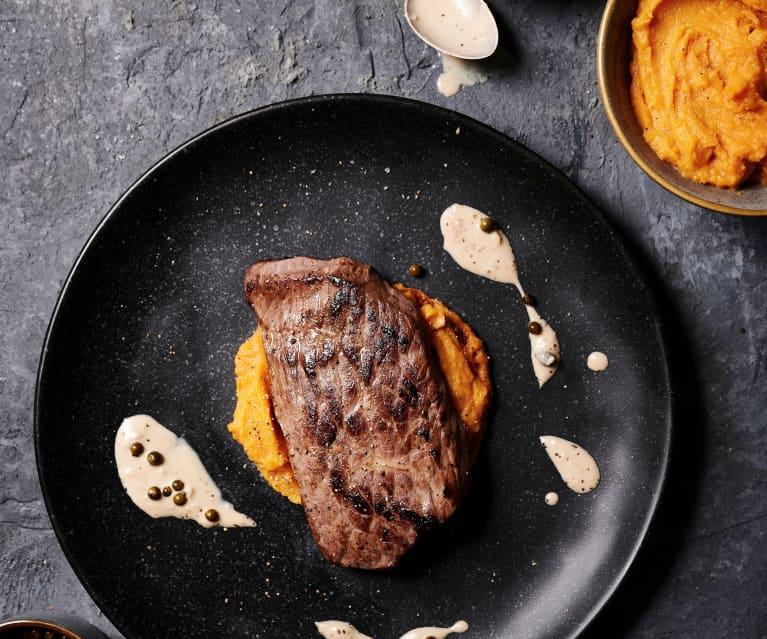 Bife do lombo em sous-vide com puré de batata-doce