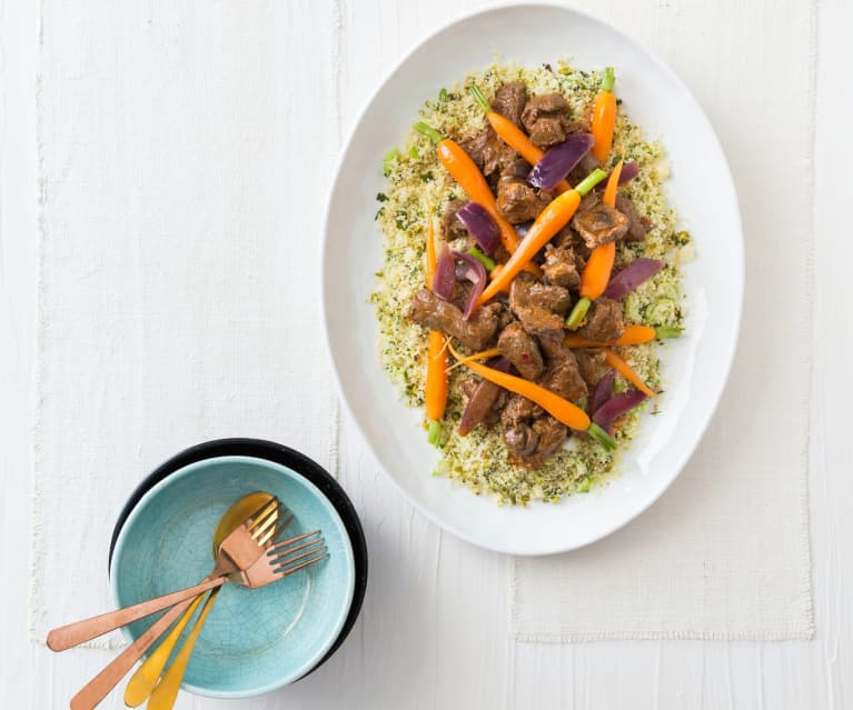 Harissa lamb with green couscous