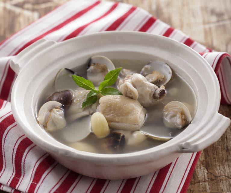 蛤蜊蒜頭雞湯