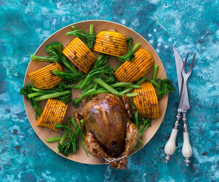 Glazed chicken with hasselback pumpkin