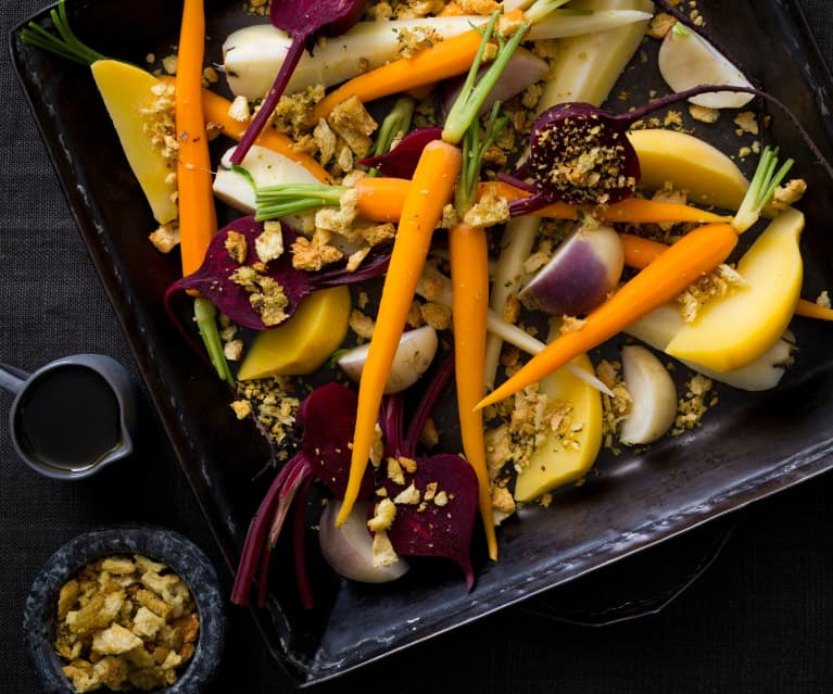 Root vegetables with hazelnut pangrattato