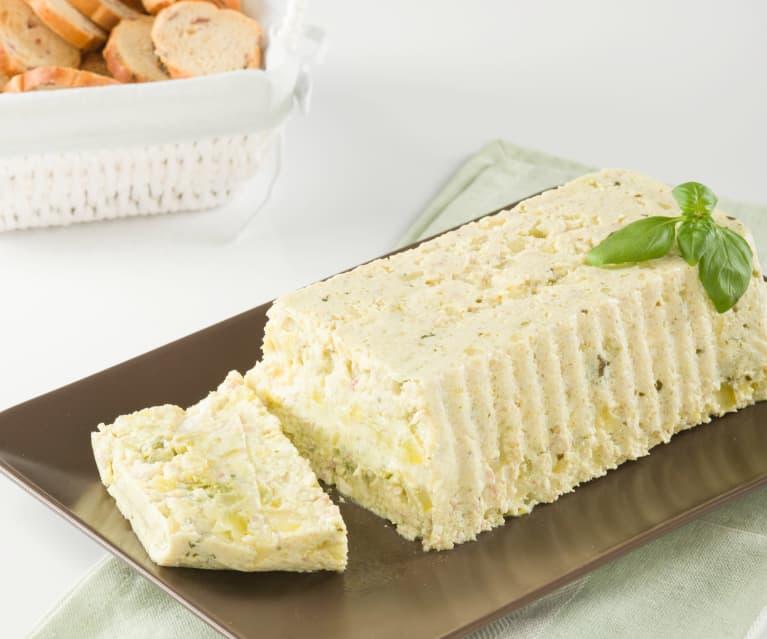 Flan de calabacín con beicon, queso y albahaca
