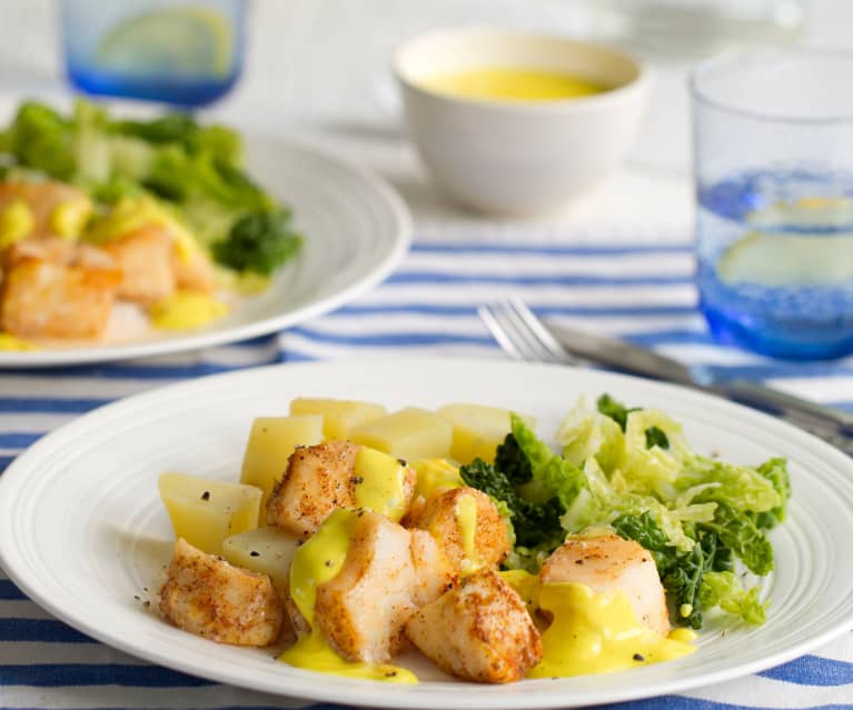 Pollock with Potatoes, Savoy Cabbage and Citrus Sauce