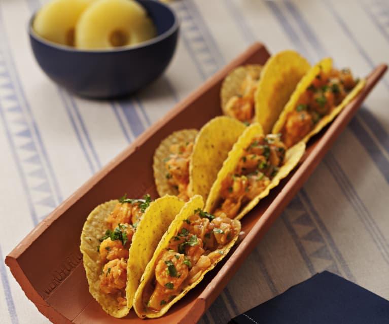 Tacos de langostinos al pastor