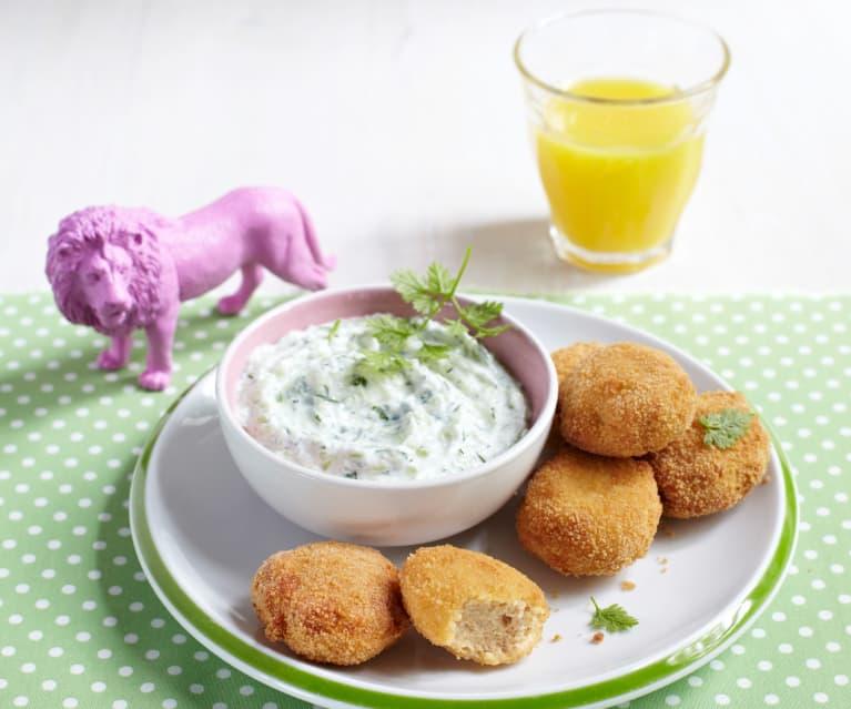 Hähnchen-Nuggets mit Gurkendip