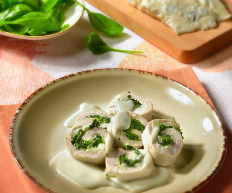 Rollitos de pavo con salsa gorgonzola