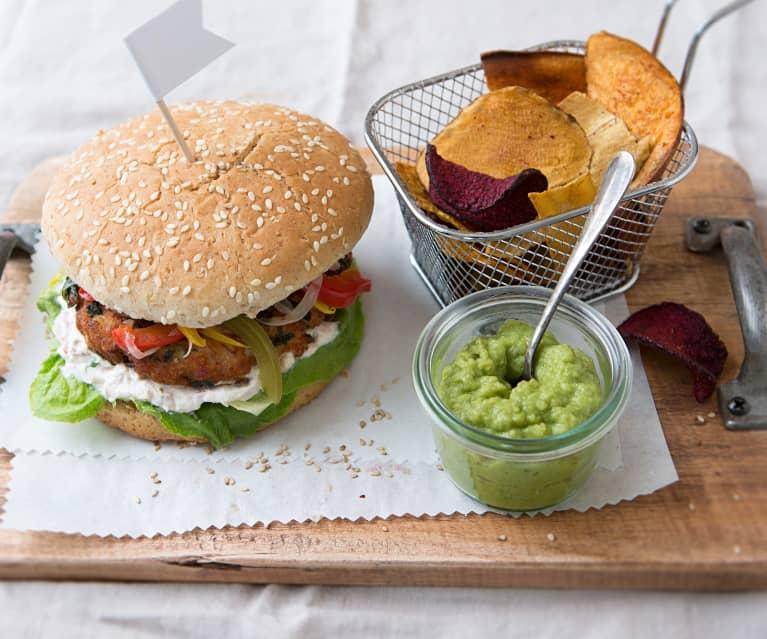 Burger de pavo con verduras encurtidas