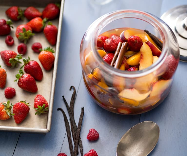 Summer fruits in mulled cider syrup