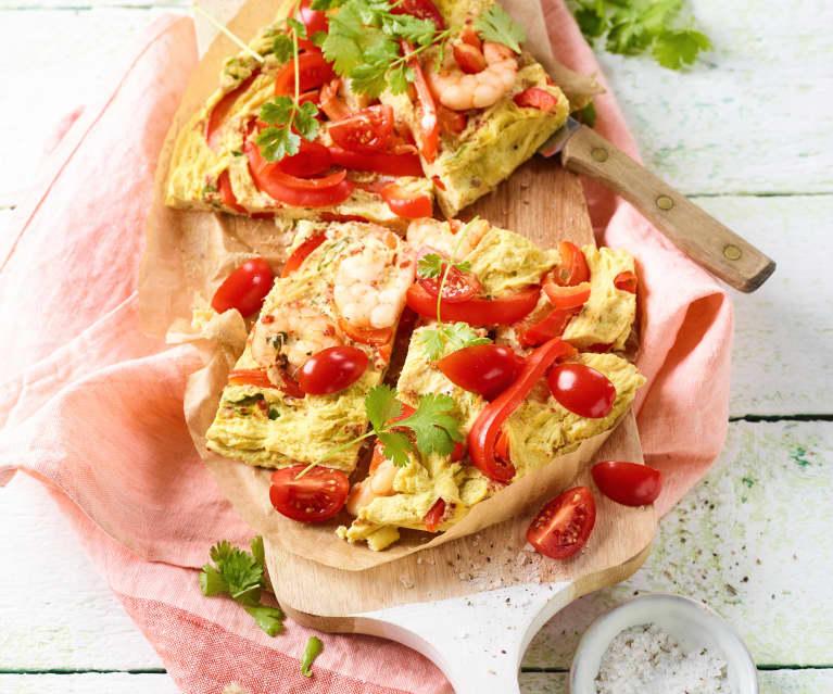 Omelette aux crevettes et à la coriandre