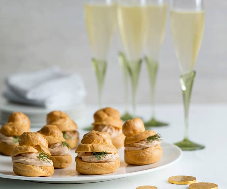 Gougère puffs with salmon mousse