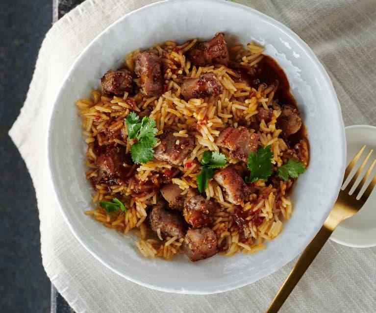 Asiatische Reispfanne mit Sous-vide gegartem Schweinebauch