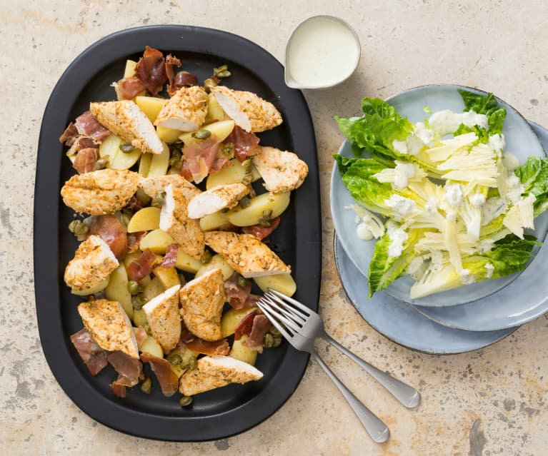 Remoulade chicken with prosciutto potatoes
