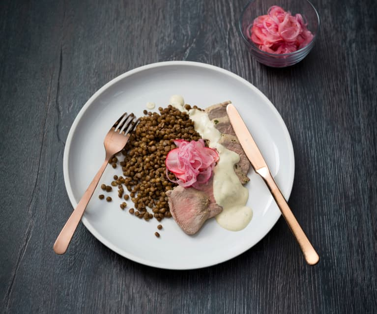 Pork and lentils with onion and radish pickle