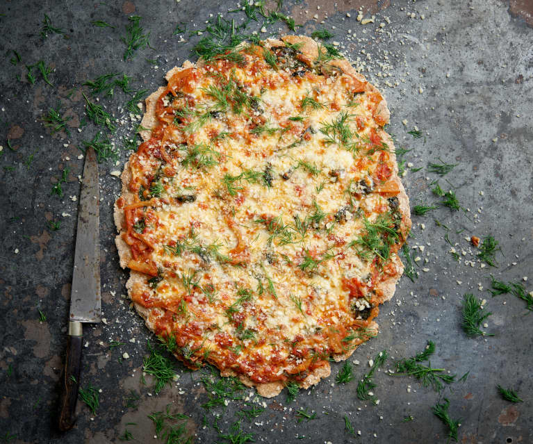 Piza de espinafres e funcho