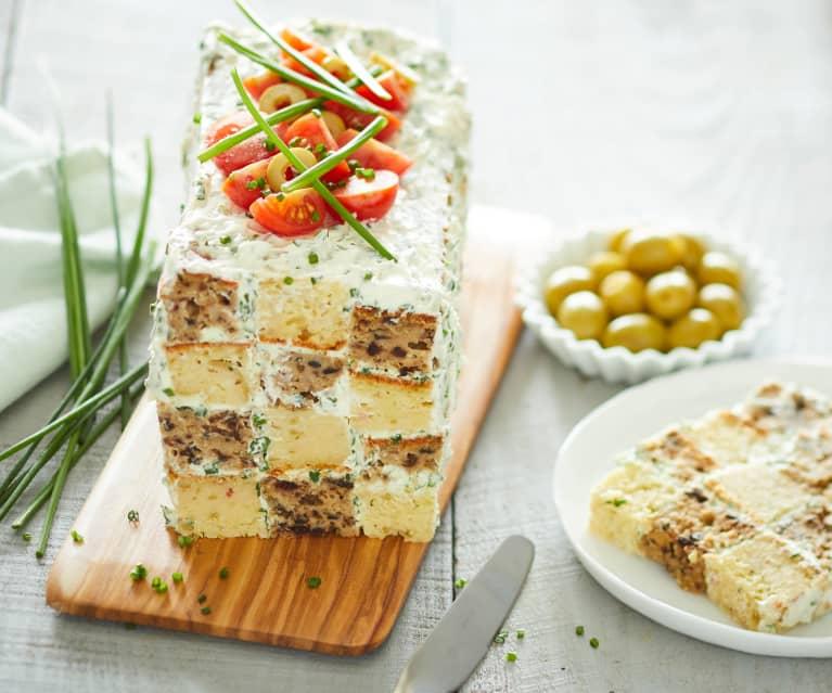 Cake damier aux olives et jambon blanc
