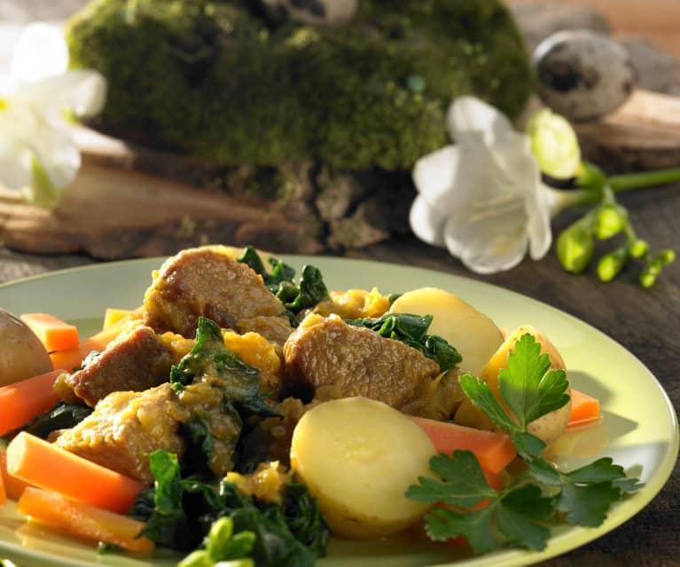 Lamm mit Blattspinat, Kartoffeln und Möhren