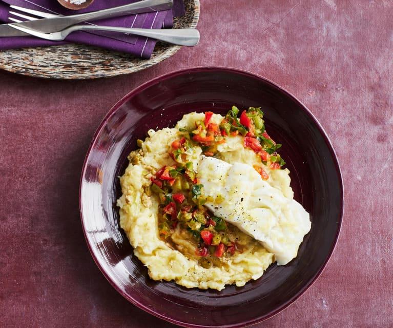 Sellerie-Kartoffelstampf mit Kabeljau und Paprika-Salsa