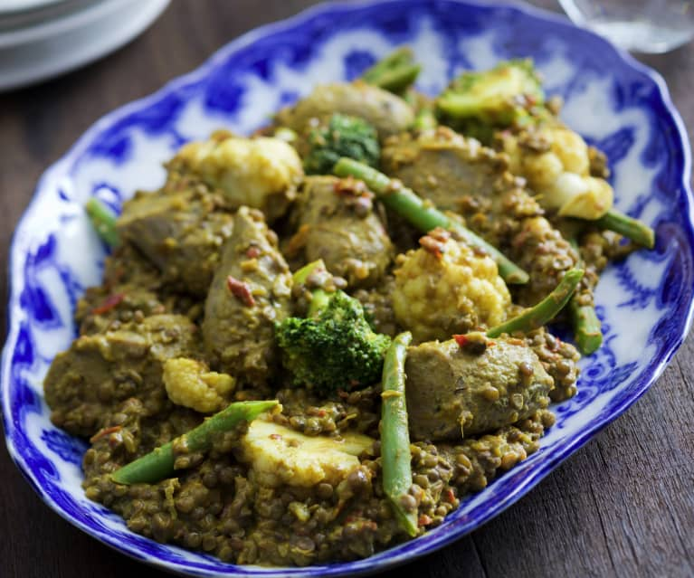 Curried Sausages and Lentils