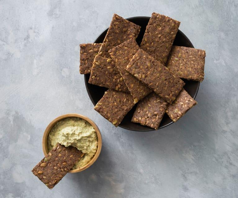 Seeded tahini crackers