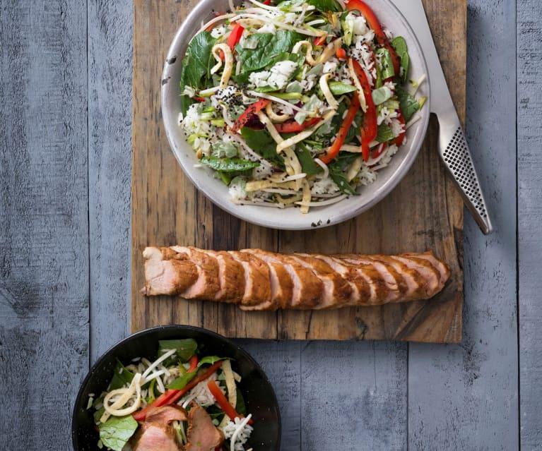 Korean barbecue pork with rice salad