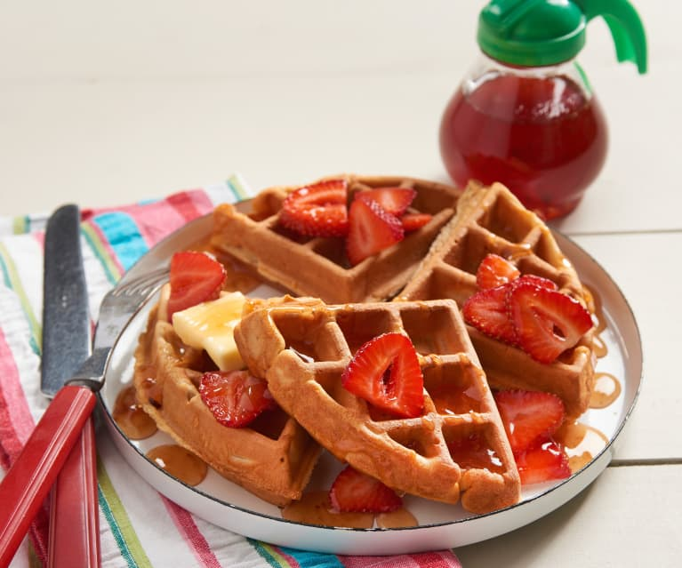Peanut Butter Waffles with Jammy Maple Syrup