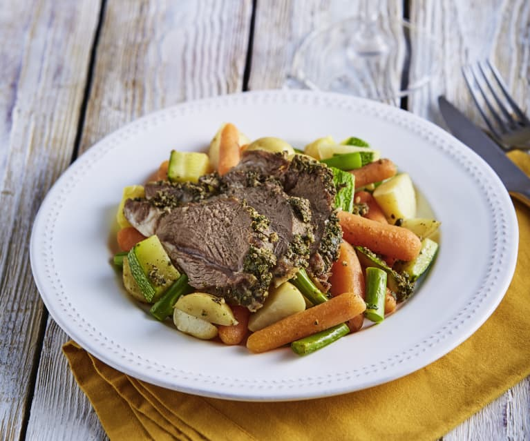 Slow Cooked Lamb Leg with Spring Vegetables