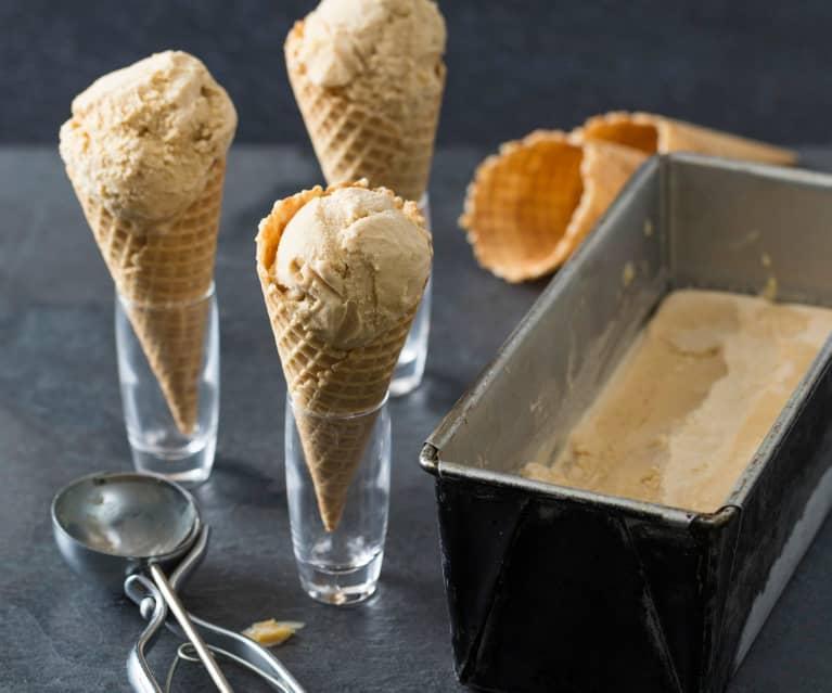 Brown butter ice cream with peanut butter ganache swirl