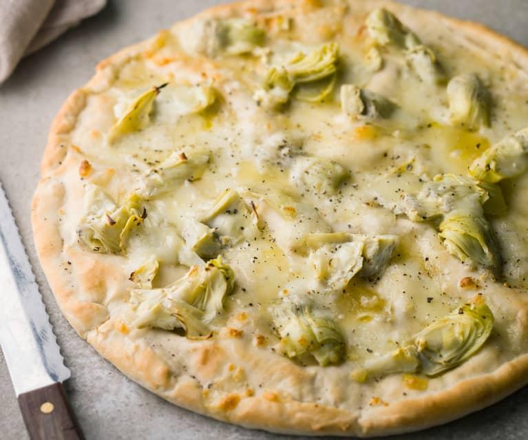 Pizza Bianca with Artichoke and Truffle Oil - Pizza Bianca con carciofi e olio al tartufo