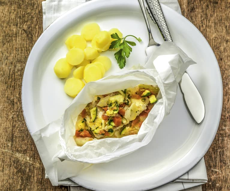 Fish and mixed vegetable parcels