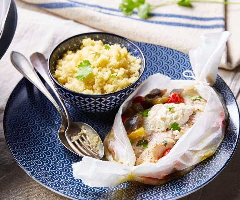 Filet de poisson aux légumes d'été et couscous