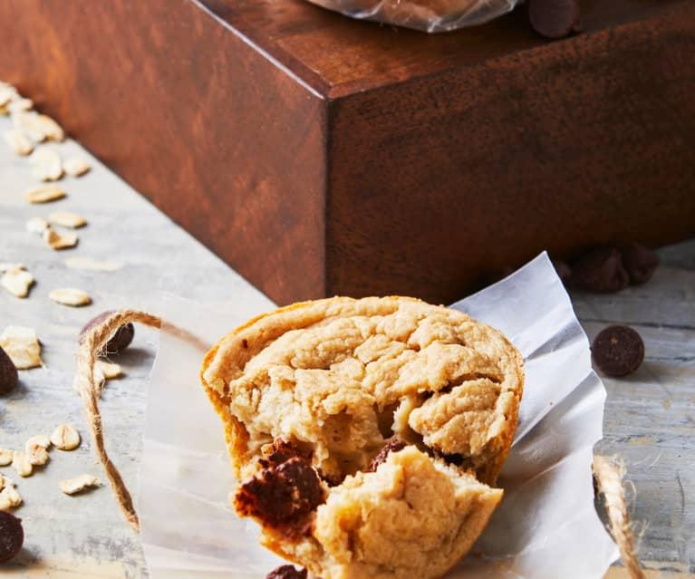 Muffins de avena con chispas de chocolate
