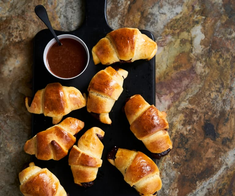 Croissants recheados com creme de chocolate