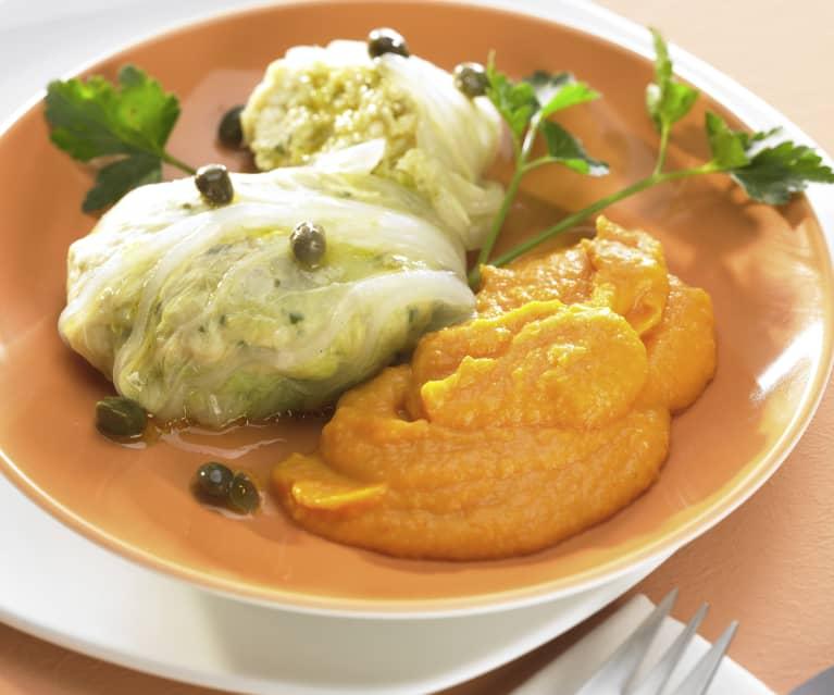 Fisch-Kohl-Päckchen mit Kartoffel-Möhren-Püree