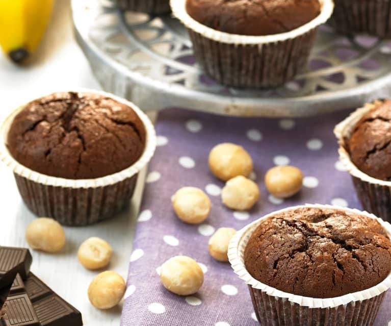 Brownie muffins de nueces y plátano (sin gluten)