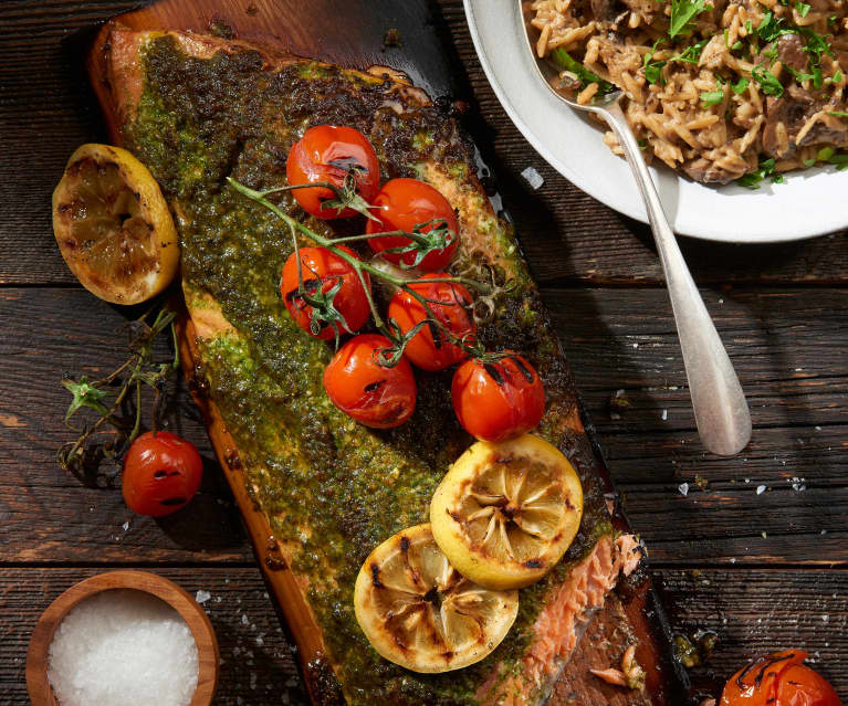 Plank Grilled Pesto Salmon with Mushroom Orzotto