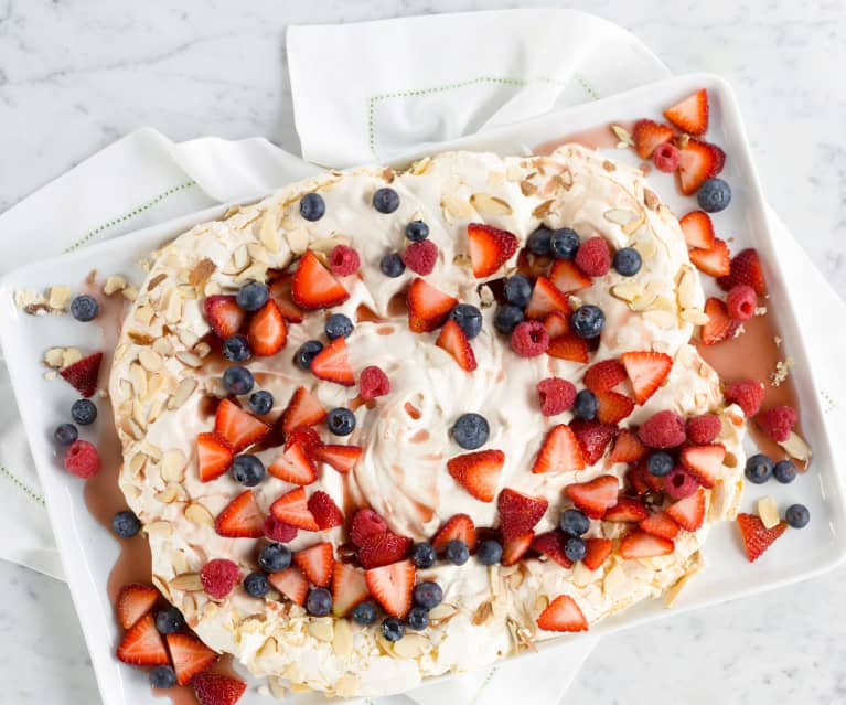 Almond Pavlova with Berries and Chambord