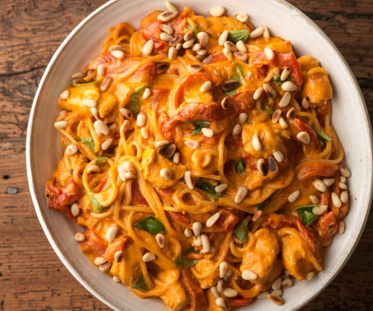 Chicken, Basil and Roasted Red Pepper Spaghetti