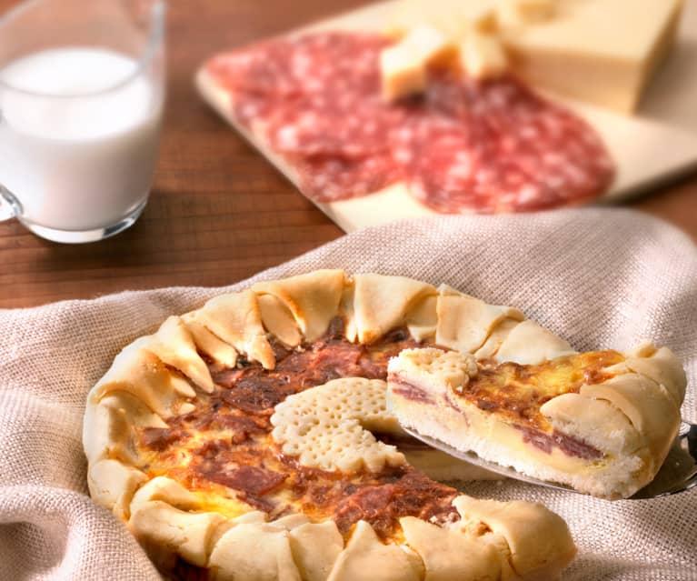 Crostata con salami y queso (sin gluten)