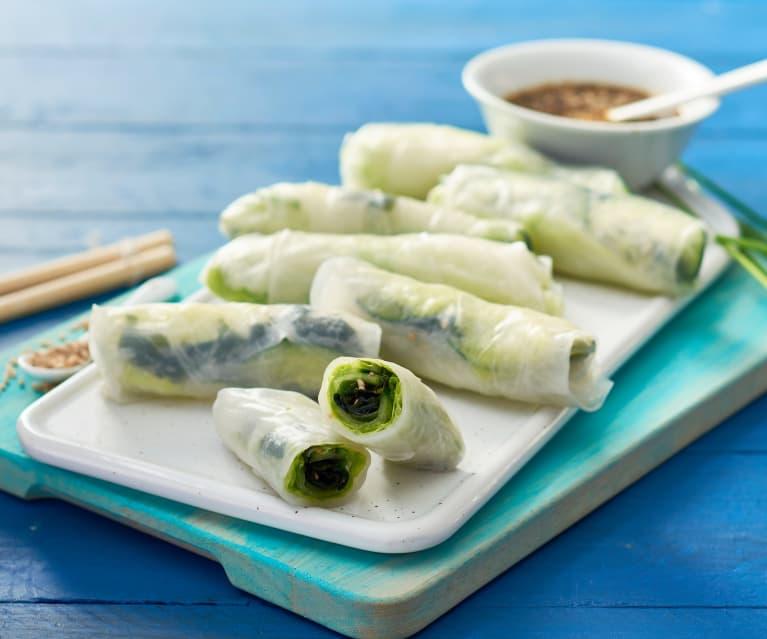 Rollitos de primavera con algas wakame y espirulina