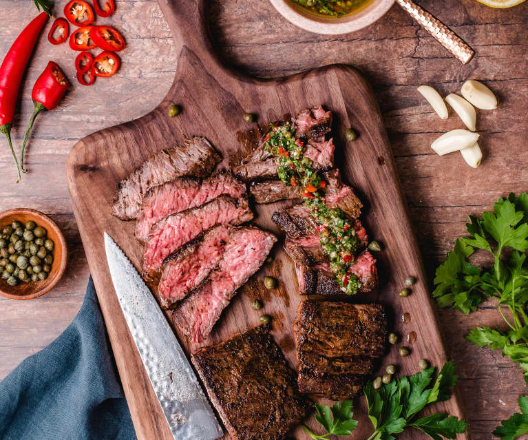 Coffee Rubbed Skirt Steak with Caper Salsa