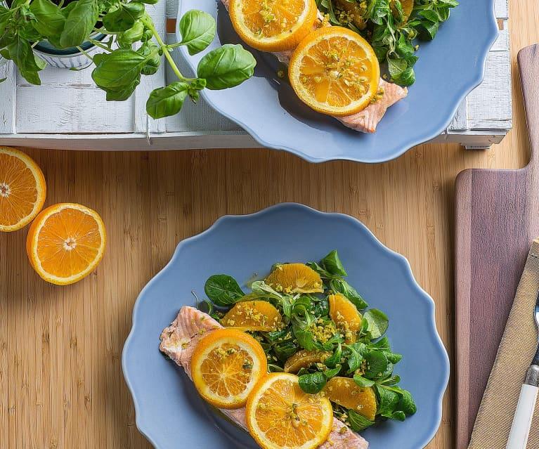 Salmone all'arancia e pistacchi (per 2 persone)