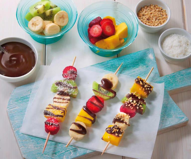 Spiedini di frutta e cioccolato