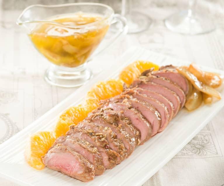 Solomillo de cerdo con hinojo y naranja