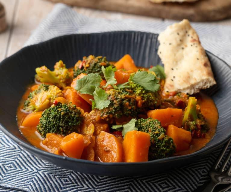 Curry de batatas y brócoli