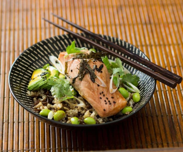 Teriyaki salmon bowl