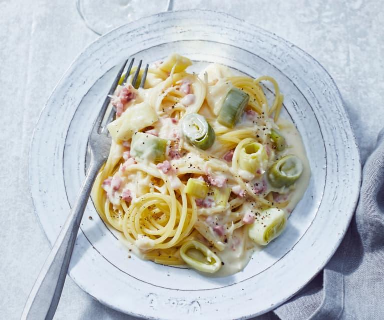 Spaghetti mit Porree-Meerrettich-Sauce