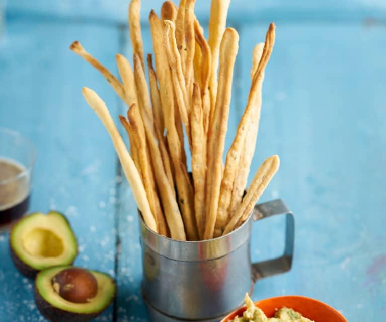 Gressinos com dip picante de abacate