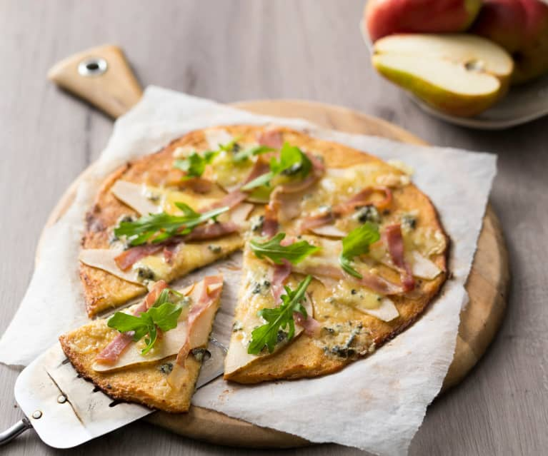 Cauliflower and ricotta pizza bases with blue cheese, pear and prosciutto