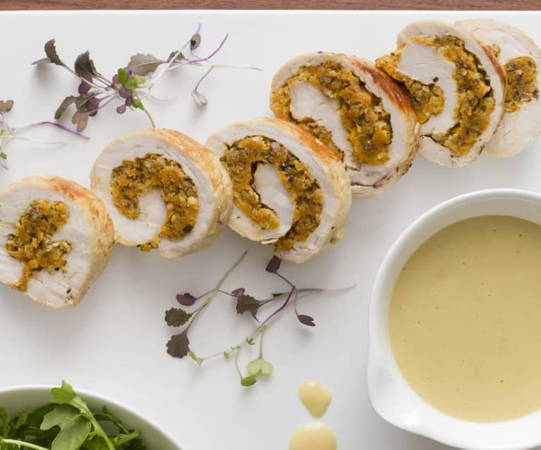 Turkey breast roulade with apricot and hazelnut stuffing
