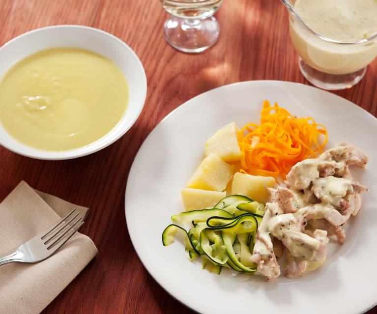 Menú completo: crema de verduras y pollo con salsa suprema